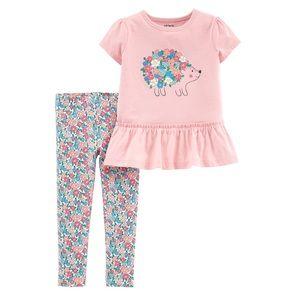 Carter's pink floral hedgehog outfit